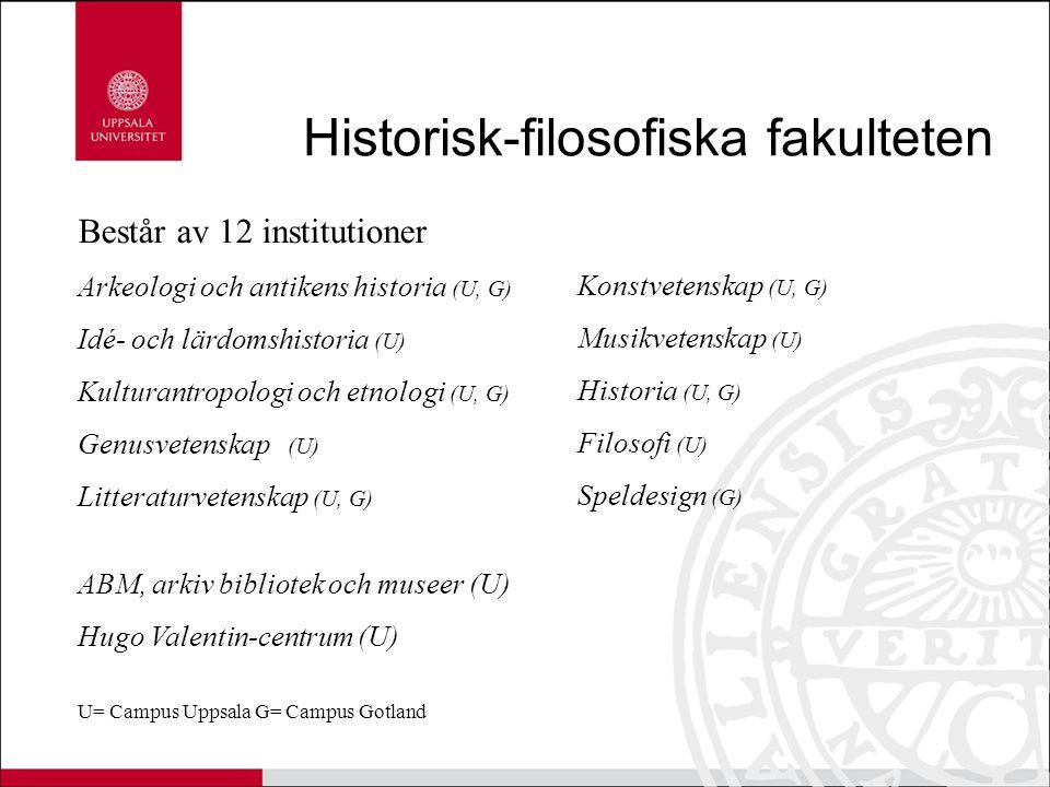 Historisk-filosofiska fakulteten Består av 12 institutioner Arkeologi och antikens historia (U, G) Idé- och lärdomshistoria (U) Kulturantropologi och