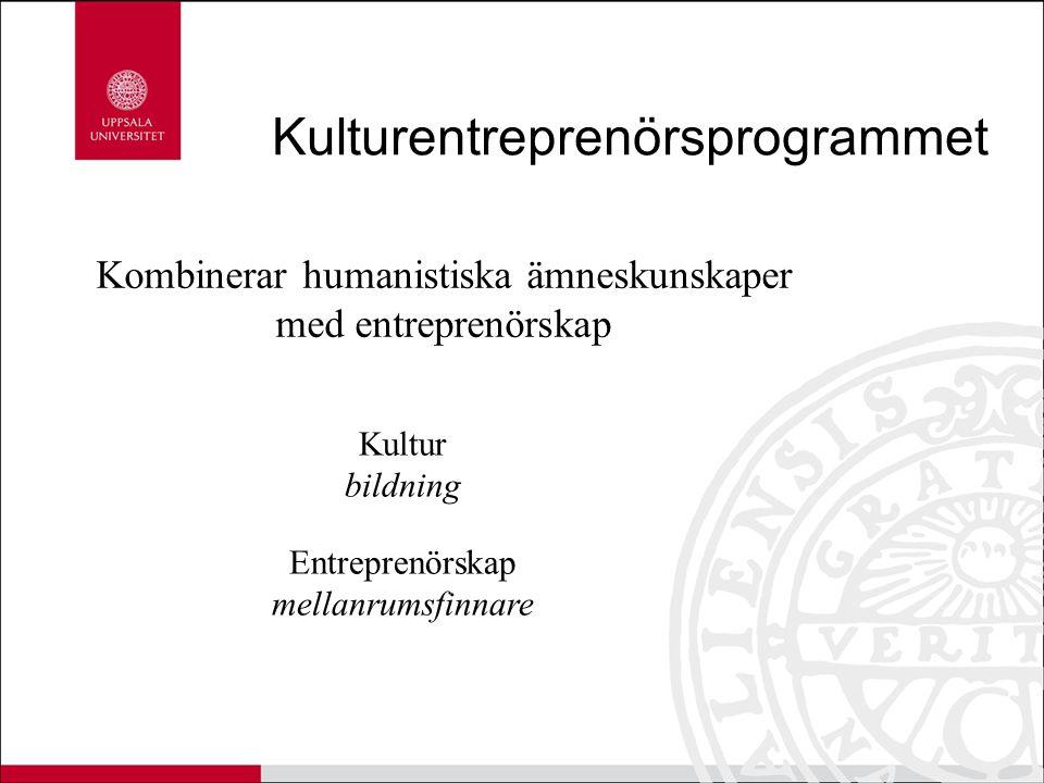Kulturentreprenörsprogrammet Kombinerar humanistiska ämneskunskaper med entreprenörskap Kultur bildning Entreprenörskap mellanrumsfinnare