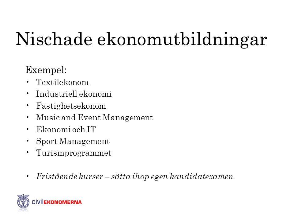 Nischade ekonomutbildningar Exempel: •Textilekonom •Industriell ekonomi •Fastighetsekonom •Music and Event Management •Ekonomi och IT •Sport Managemen