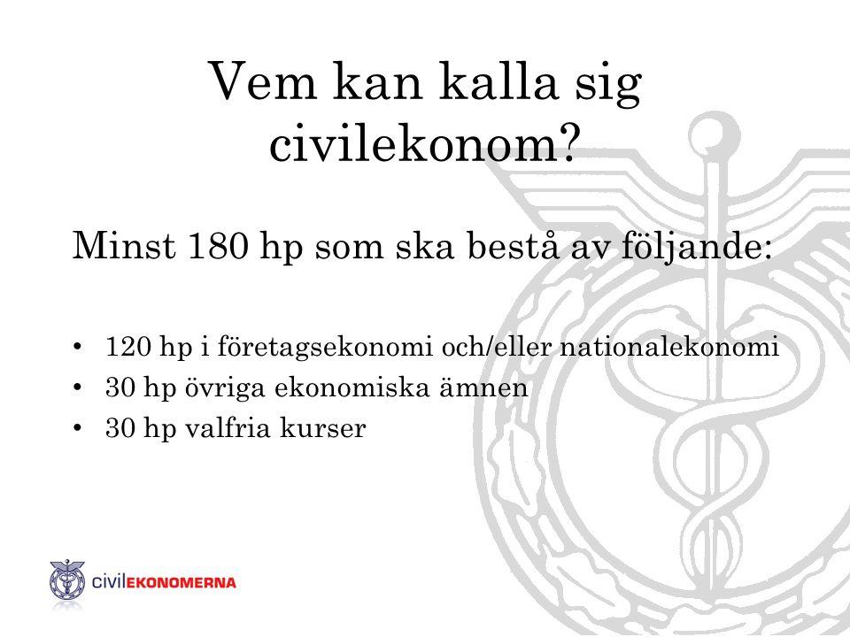 Vem kan kalla sig civilekonom? Minst 180 hp som ska bestå av följande: • 120 hp i företagsekonomi och/eller nationalekonomi • 30 hp övriga ekonomiska