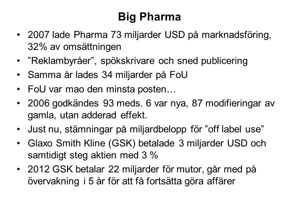 Big Pharma •2007 lade Pharma 73 miljarder USD på marknadsföring, 32% av omsättningen • Reklambyråer , spökskrivare och sned publicering •Samma år lades 34 miljarder på FoU •FoU var mao den minsta posten… •2006 godkändes 93 meds.