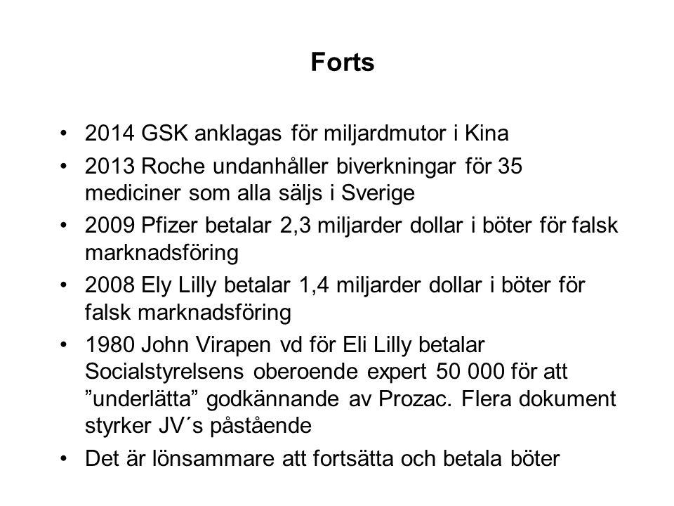 Forts •2014 GSK anklagas för miljardmutor i Kina •2013 Roche undanhåller biverkningar för 35 mediciner som alla säljs i Sverige •2009 Pfizer betalar 2,3 miljarder dollar i böter för falsk marknadsföring •2008 Ely Lilly betalar 1,4 miljarder dollar i böter för falsk marknadsföring •1980 John Virapen vd för Eli Lilly betalar Socialstyrelsens oberoende expert 50 000 för att underlätta godkännande av Prozac.
