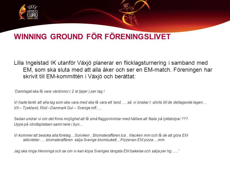 WINNING GROUND FÖR FÖRENINGSLIVET Lilla Ingelstad IK utanför Växjö planerar en flicklagsturnering i samband med EM, som ska sluta med att alla åker och ser en EM-match.