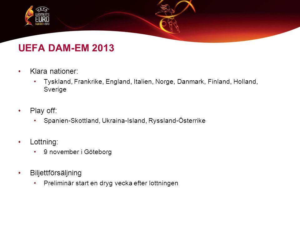 UEFA DAM-EM 2013 •Klara nationer: •Tyskland, Frankrike, England, Italien, Norge, Danmark, Finland, Holland, Sverige •Play off: •Spanien-Skottland, Ukraina-Island, Ryssland-Österrike •Lottning: •9 november i Göteborg •Biljettförsäljning •Preliminär start en dryg vecka efter lottningen