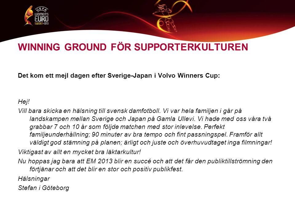 WINNING GROUND FÖR SUPPORTERKULTUREN Det kom ett mejl dagen efter Sverige-Japan i Volvo Winners Cup: Hej.
