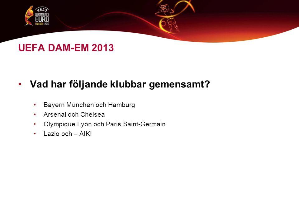 UEFA DAM-EM 2013 •Vad har följande klubbar gemensamt.