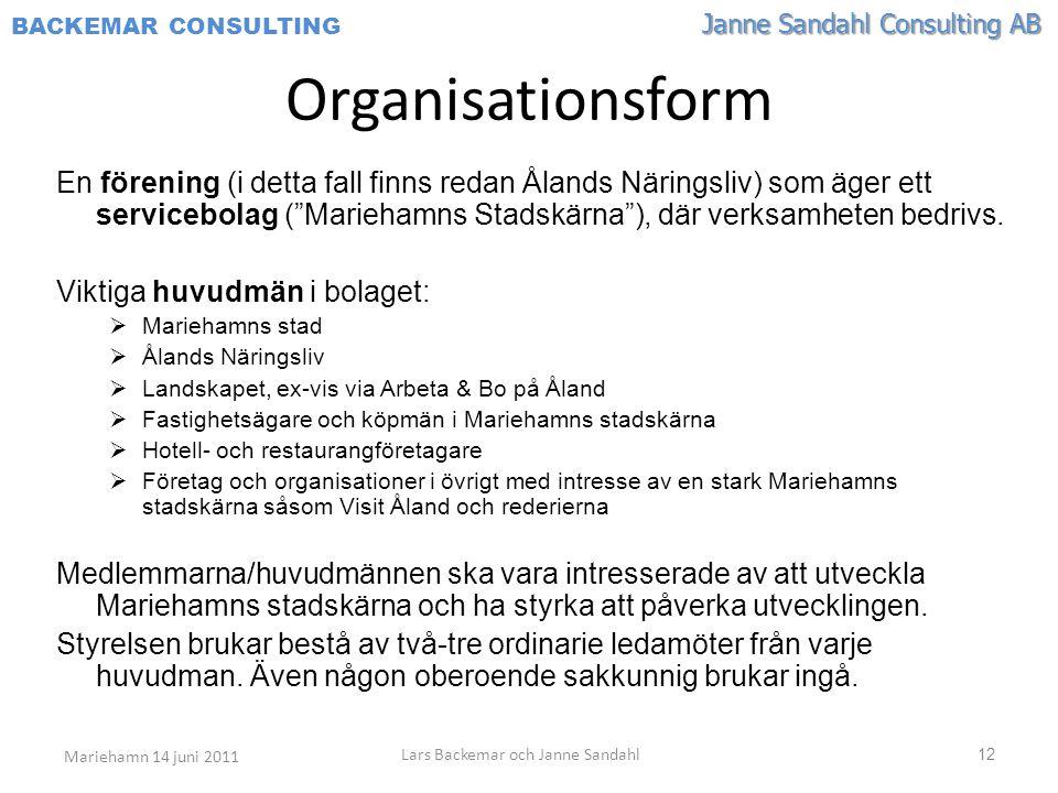 Janne Sandahl Consulting AB BACKEMAR CONSULTING 12 Organisationsform En förening (i detta fall finns redan Ålands Näringsliv) som äger ett servicebolag ( Mariehamns Stadskärna ), där verksamheten bedrivs.
