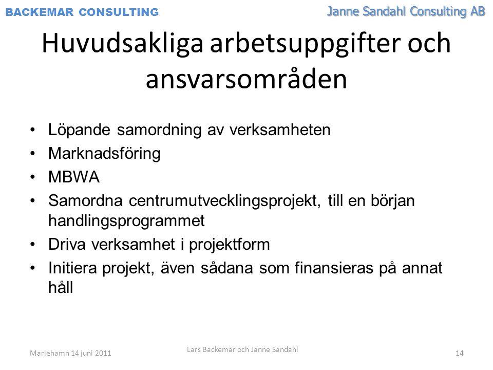 Janne Sandahl Consulting AB BACKEMAR CONSULTING Huvudsakliga arbetsuppgifter och ansvarsområden •Löpande samordning av verksamheten •Marknadsföring •MBWA •Samordna centrumutvecklingsprojekt, till en början handlingsprogrammet •Driva verksamhet i projektform •Initiera projekt, även sådana som finansieras på annat håll Mariehamn 14 juni 2011 Lars Backemar och Janne Sandahl 14