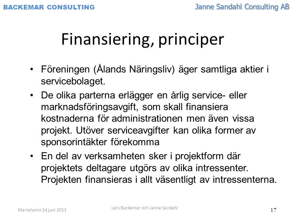 Janne Sandahl Consulting AB BACKEMAR CONSULTING 17 Finansiering, principer •Föreningen (Ålands Näringsliv) äger samtliga aktier i servicebolaget. •De