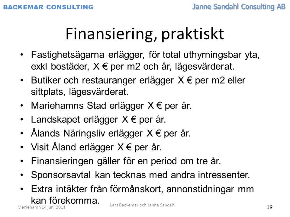 Janne Sandahl Consulting AB BACKEMAR CONSULTING 19 •Fastighetsägarna erlägger, för total uthyrningsbar yta, exkl bostäder, X € per m2 och år, lägesvärderat.