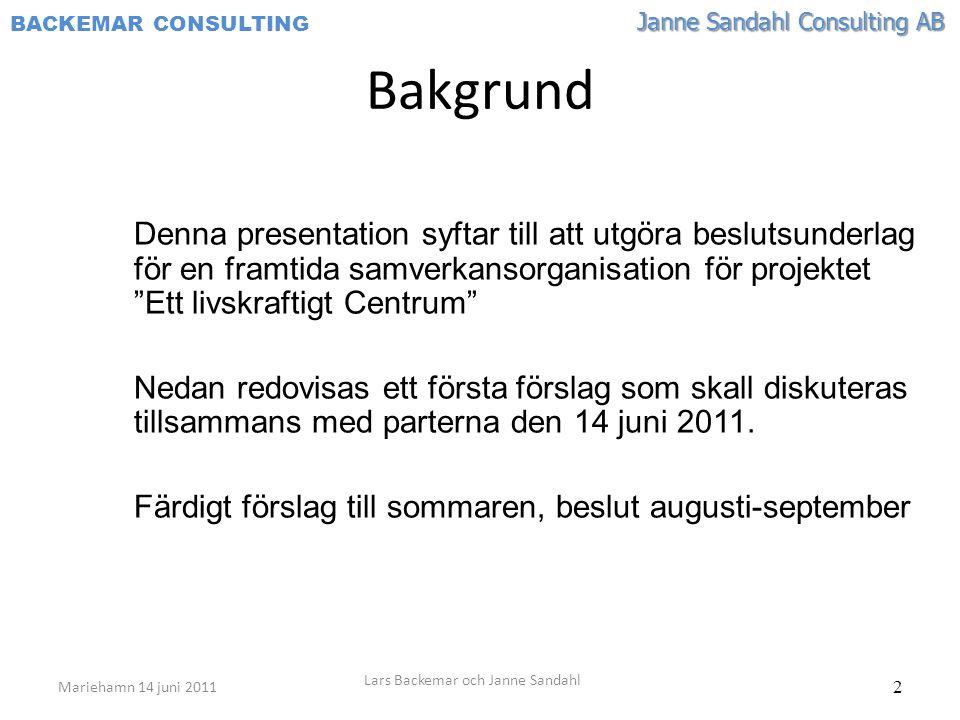 Janne Sandahl Consulting AB BACKEMAR CONSULTING 2 Bakgrund Denna presentation syftar till att utgöra beslutsunderlag för en framtida samverkansorganisation för projektet Ett livskraftigt Centrum Nedan redovisas ett första förslag som skall diskuteras tillsammans med parterna den 14 juni 2011.