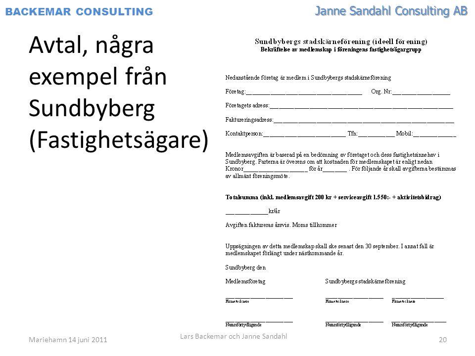 Janne Sandahl Consulting AB BACKEMAR CONSULTING Avtal, några exempel från Sundbyberg (Fastighetsägare) Mariehamn 14 juni 2011 Lars Backemar och Janne