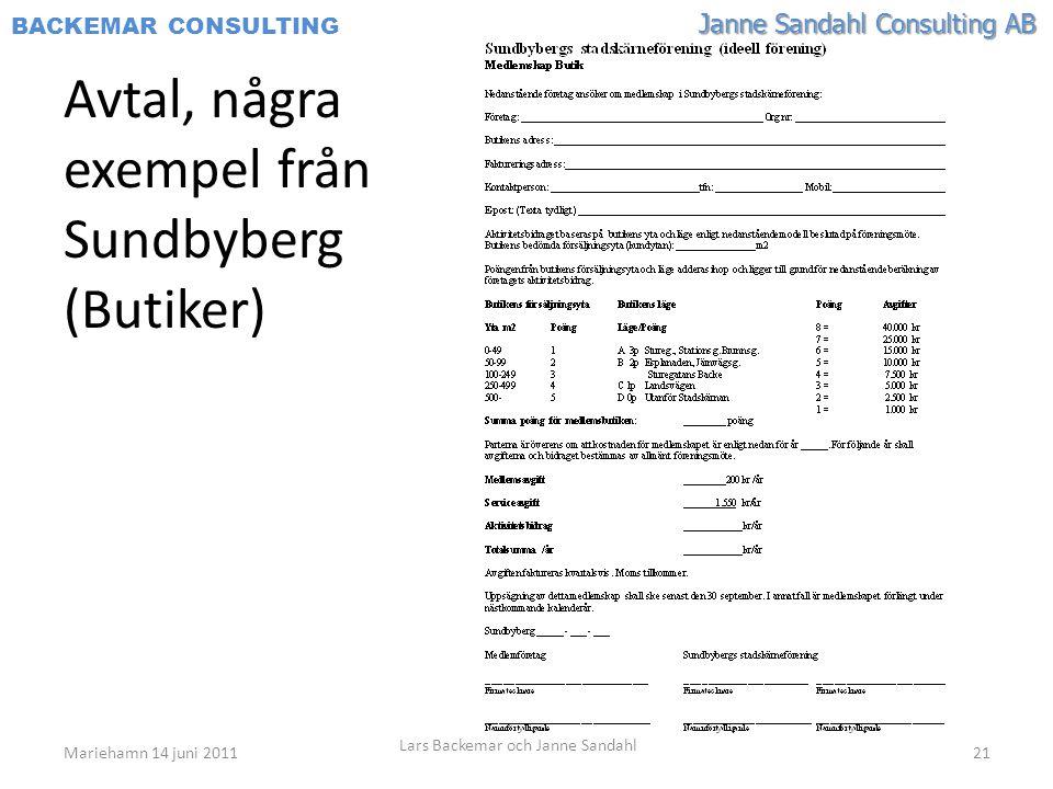 Janne Sandahl Consulting AB BACKEMAR CONSULTING Avtal, några exempel från Sundbyberg (Butiker) Mariehamn 14 juni 2011 Lars Backemar och Janne Sandahl