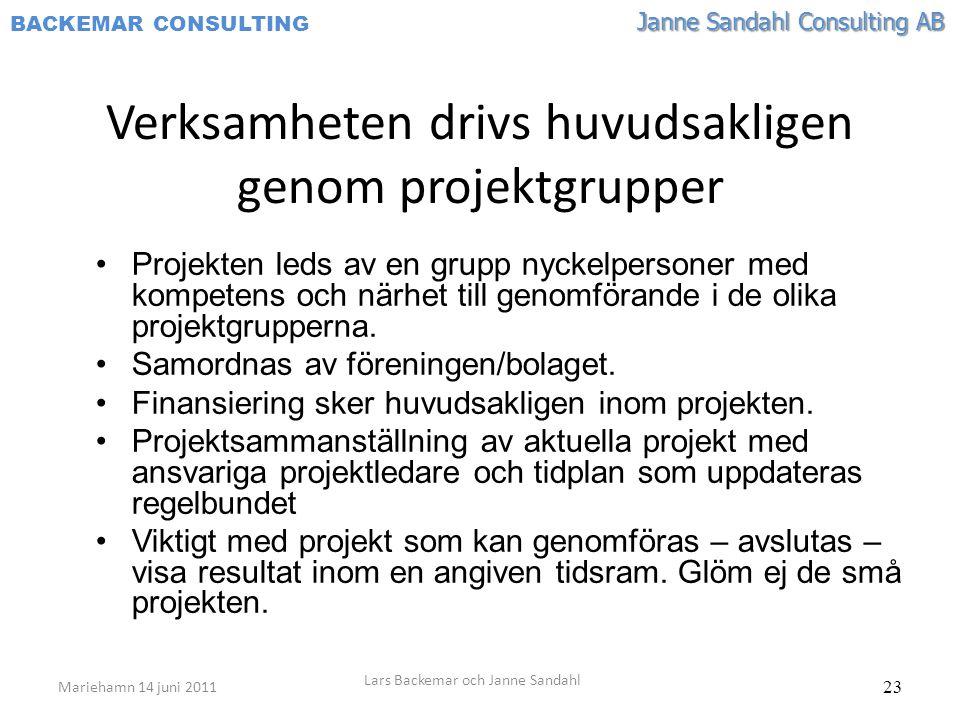 Janne Sandahl Consulting AB BACKEMAR CONSULTING 23 Verksamheten drivs huvudsakligen genom projektgrupper •Projekten leds av en grupp nyckelpersoner med kompetens och närhet till genomförande i de olika projektgrupperna.