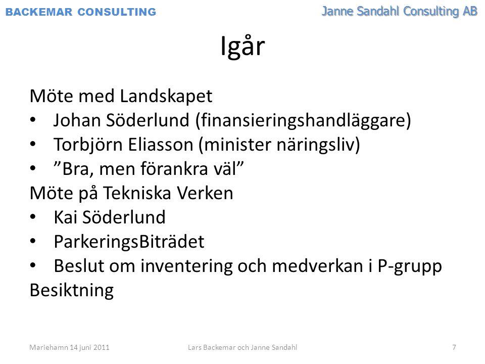 Janne Sandahl Consulting AB BACKEMAR CONSULTING Igår Möte med Landskapet • Johan Söderlund (finansieringshandläggare) • Torbjörn Eliasson (minister nä