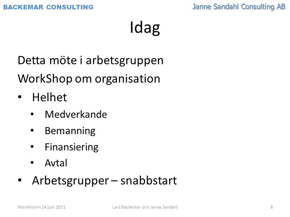 Janne Sandahl Consulting AB BACKEMAR CONSULTING Idag Detta möte i arbetsgruppen WorkShop om organisation • Helhet • Medverkande • Bemanning • Finansie