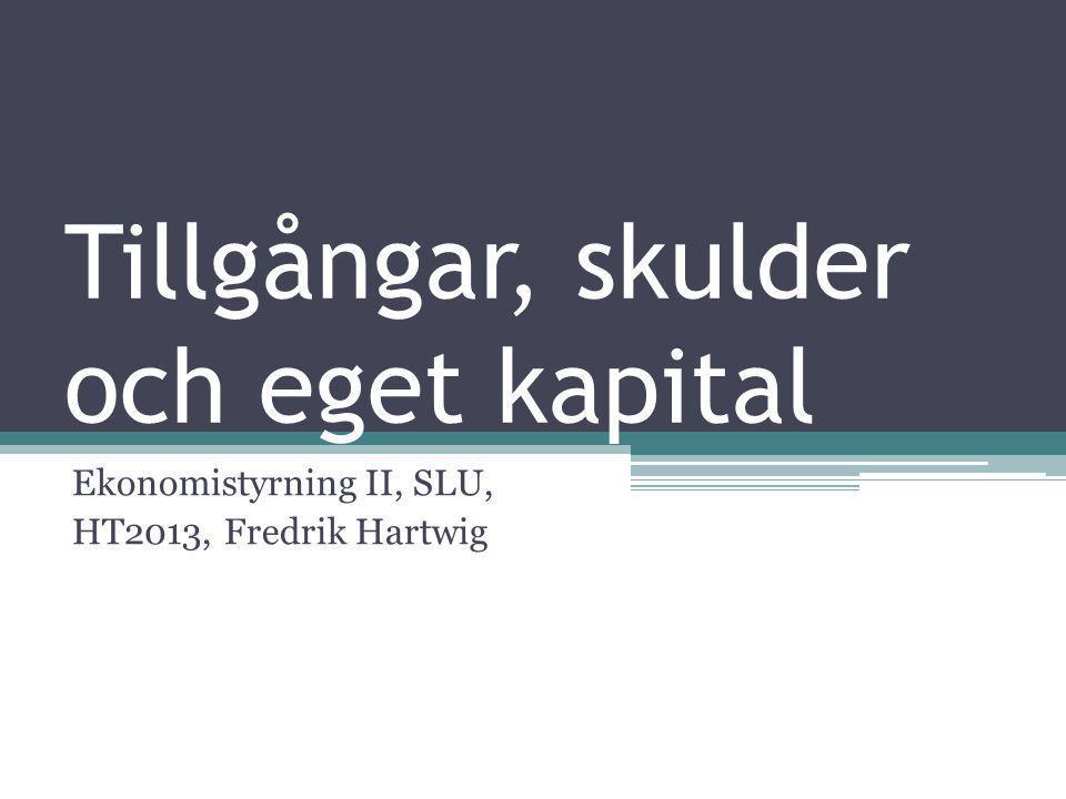 Tillgångar, skulder och eget kapital Ekonomistyrning II, SLU, HT2013, Fredrik Hartwig