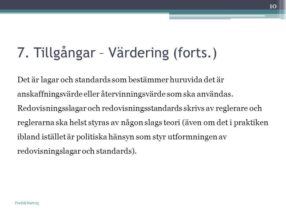 7. Tillgångar – Värdering (forts.) Fredrik Hartwig 10 Det är lagar och standards som bestämmer huruvida det är anskaffningsvärde eller återvinningsvär