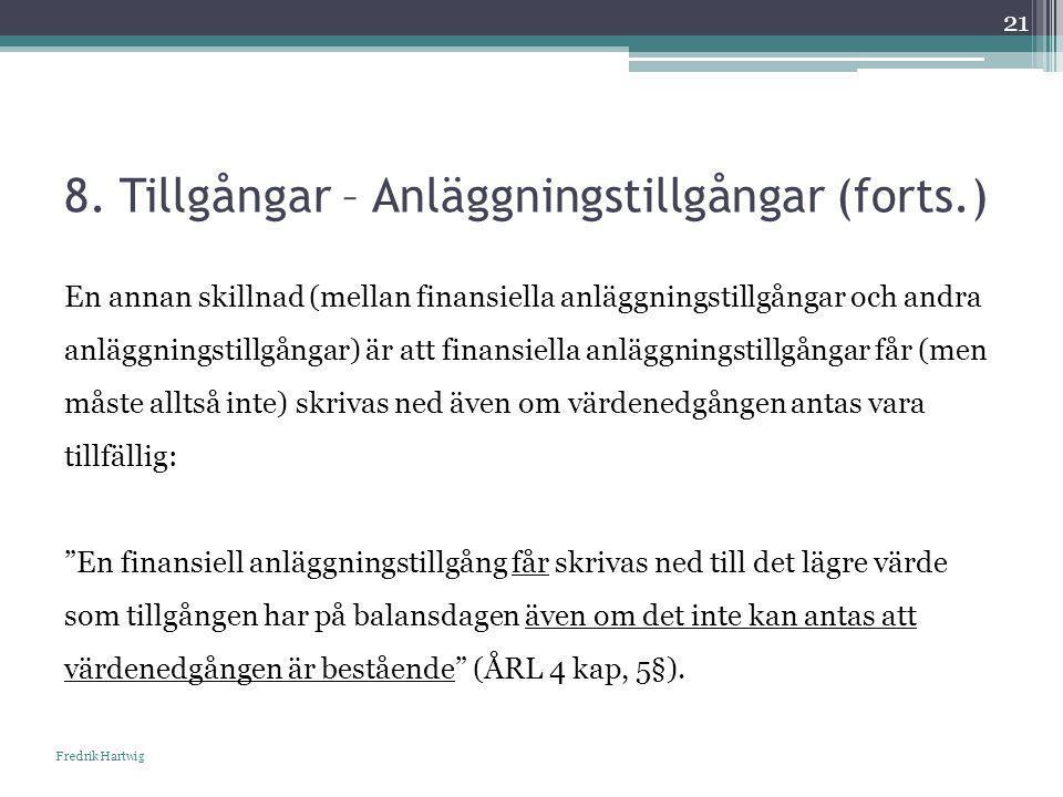 8. Tillgångar – Anläggningstillgångar (forts.) Fredrik Hartwig 21 En annan skillnad (mellan finansiella anläggningstillgångar och andra anläggningstil