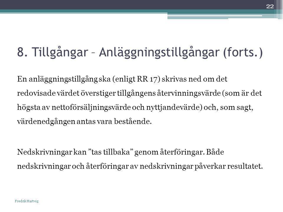 8. Tillgångar – Anläggningstillgångar (forts.) Fredrik Hartwig 22 En anläggningstillgång ska (enligt RR 17) skrivas ned om det redovisade värdet övers