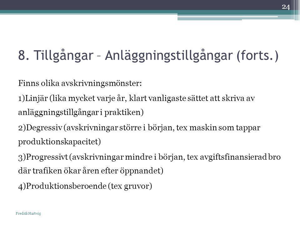 8. Tillgångar – Anläggningstillgångar (forts.) Fredrik Hartwig 24 Finns olika avskrivningsmönster: 1)Linjär (lika mycket varje år, klart vanligaste sä