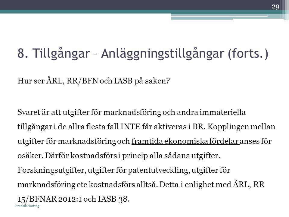 8. Tillgångar – Anläggningstillgångar (forts.) Fredrik Hartwig 29 Hur ser ÅRL, RR/BFN och IASB på saken? Svaret är att utgifter för marknadsföring och