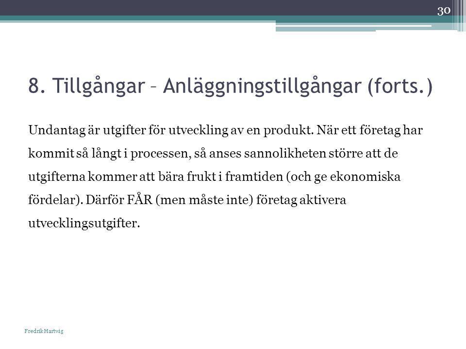8. Tillgångar – Anläggningstillgångar (forts.) Fredrik Hartwig 30 Undantag är utgifter för utveckling av en produkt. När ett företag har kommit så lån