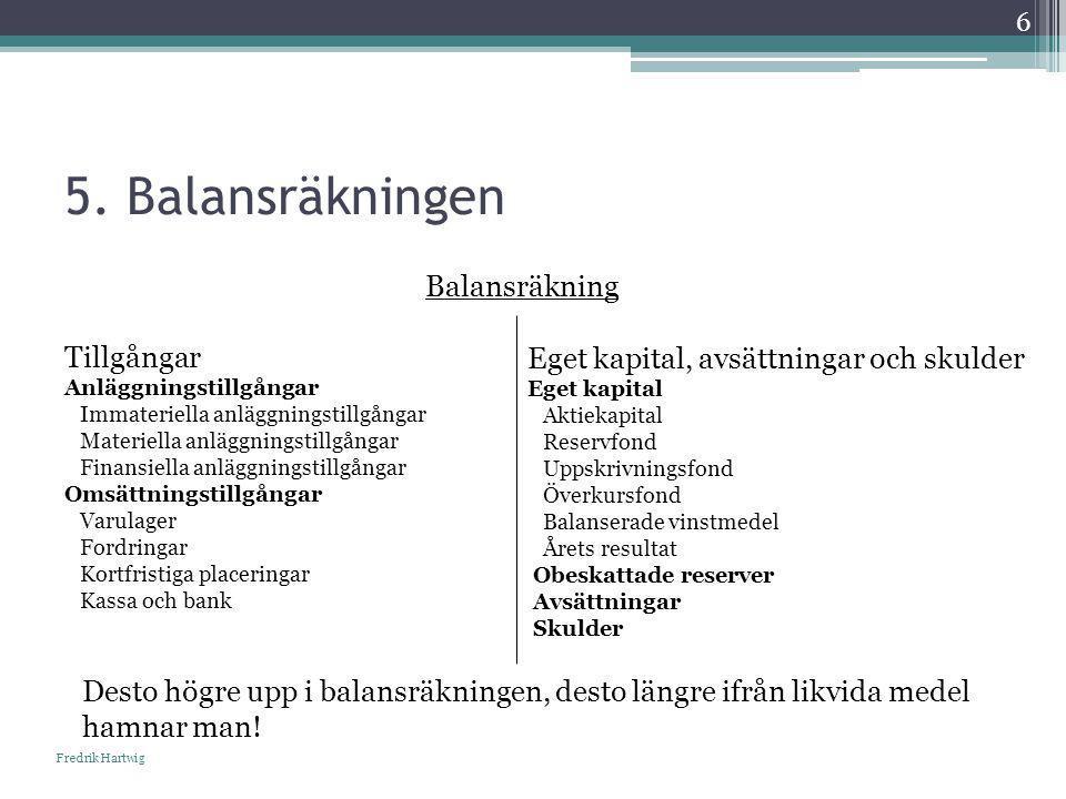 5. Balansräkningen Balansräkning Tillgångar Anläggningstillgångar Immateriella anläggningstillgångar Materiella anläggningstillgångar Finansiella anlä