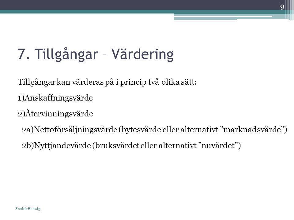 7. Tillgångar – Värdering Fredrik Hartwig 9 Tillgångar kan värderas på i princip två olika sätt: 1)Anskaffningsvärde 2)Återvinningsvärde 2a)Nettoförsä