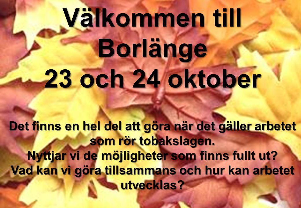 Välkommen till Borlänge 23 och 24 oktober Det finns en hel del att göra när det gäller arbetet som rör tobakslagen. Nyttjar vi de möjligheter som finn