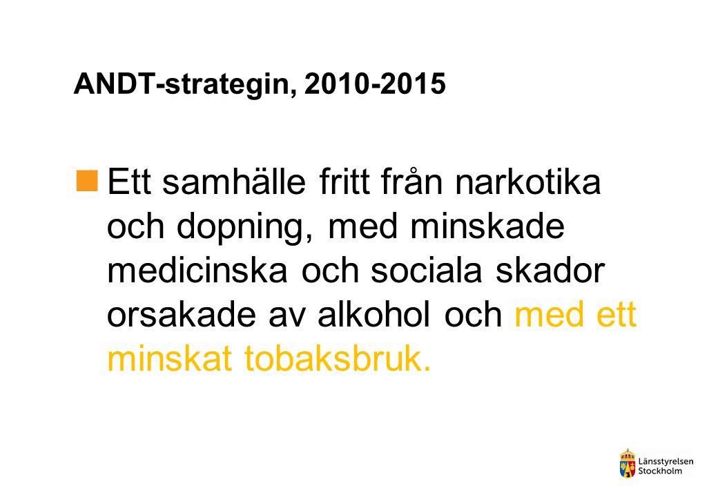 ANDT-strategin, 2010-2015  Ett samhälle fritt från narkotika och dopning, med minskade medicinska och sociala skador orsakade av alkohol och med ett