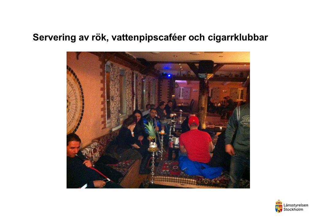 Servering av rök, vattenpipscaféer och cigarrklubbar