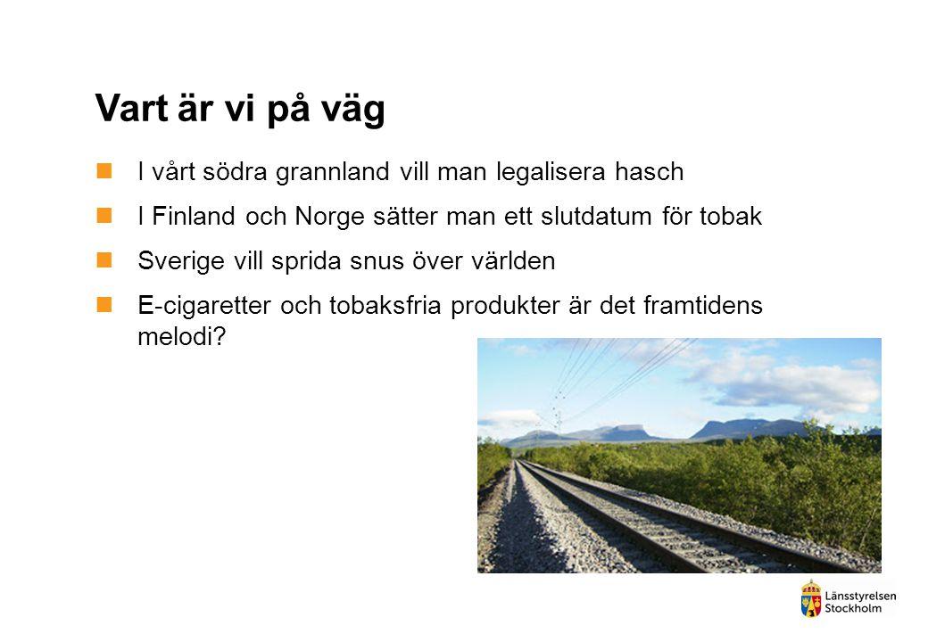 Vart är vi på väg  I vårt södra grannland vill man legalisera hasch  I Finland och Norge sätter man ett slutdatum för tobak  Sverige vill sprida sn