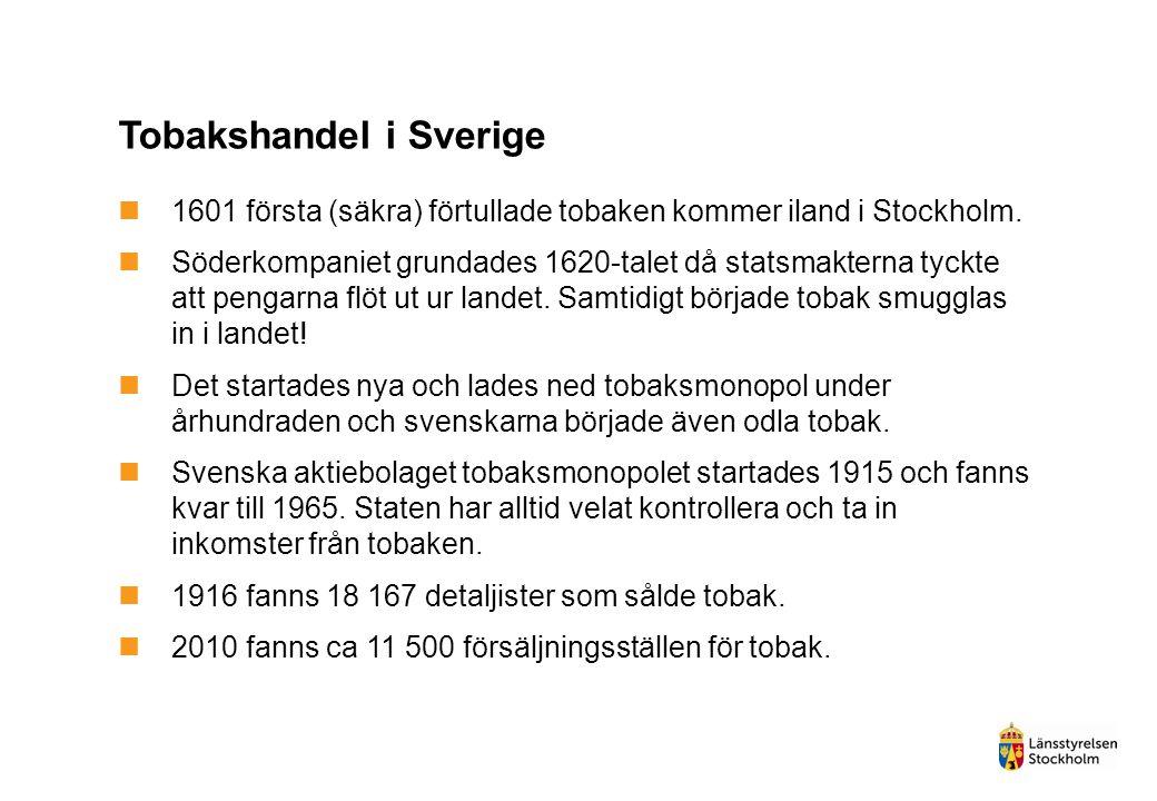 Tobakslagstiftning i Sverige  1964 avsätts statliga pengar för att upplysa om tobakens hälsorisker  Regeringens proposition 1975/76:49 med förslag om varningstext och innehållsdeklaration på tobaksvaror  Regeringens proposition 1977/78:178 med förslag till lagstiftning om marknadsföringen av alkoholdrycker och tobaksvaror  1990 kom betänkandet Tobakslag (SOU 1990:29)  28 maj 1993 röstades Sveriges första tobakslag igenom.