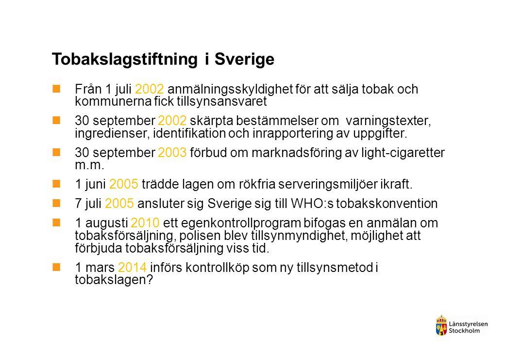 Tobakslagstiftning i Sverige  Från 1 juli 2002 anmälningsskyldighet för att sälja tobak och kommunerna fick tillsynsansvaret  30 september 2002 skär