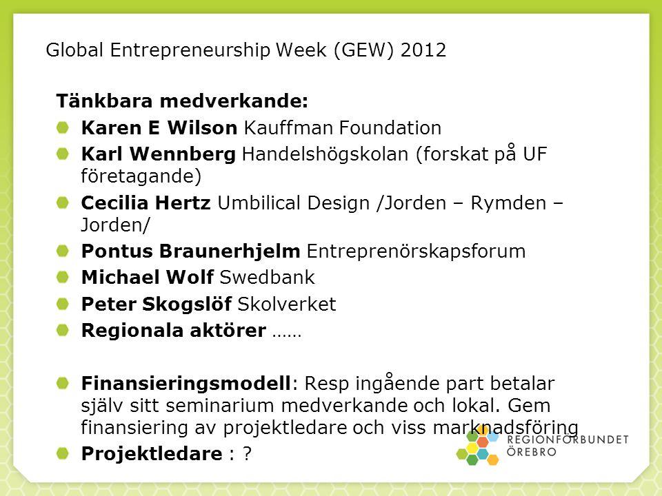 Global Entrepreneurship Week (GEW) 2012 Tänkbara medverkande: Karen E Wilson Kauffman Foundation Karl Wennberg Handelshögskolan (forskat på UF företag