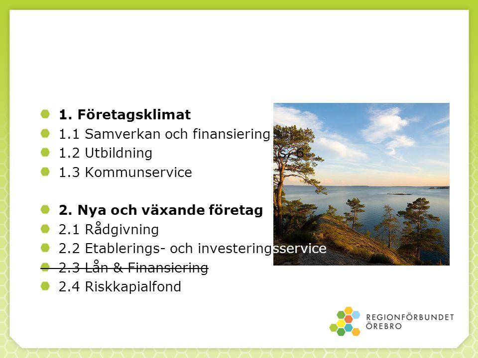 1. Företagsklimat 1.1 Samverkan och finansiering 1.2 Utbildnings. 6 1.3 Kommunservice 2. Nya och växande företag 2.1 Rådgivning 2.2 Etablerings- och i
