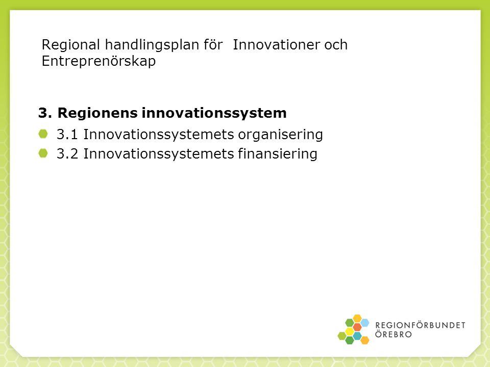 3. Regionens innovationssystem 3.1 Innovationssystemets organisering 3.2 Innovationssystemets finansiering Regional handlingsplan för Innovationer och