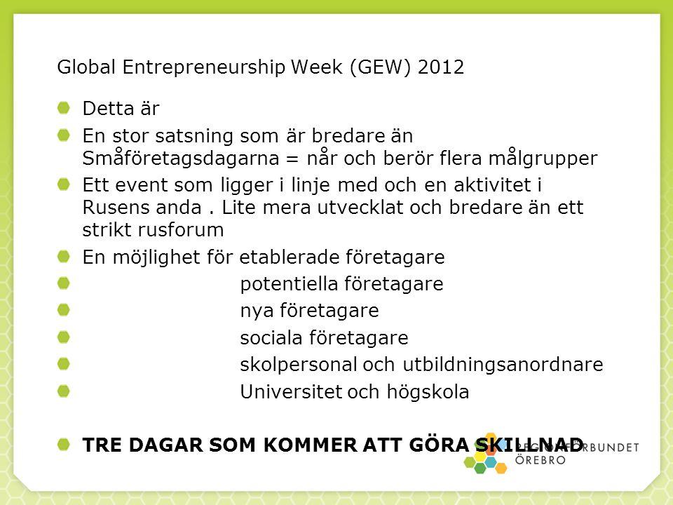 Global Entrepreneurship Week (GEW) 2012 Detta är En stor satsning som är bredare än Småföretagsdagarna = når och berör flera målgrupper Ett event som