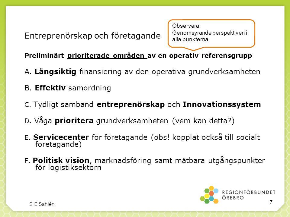 Entreprenörskap och företagande Preliminärt prioriterade områden av en operativ referensgrupp A. Långsiktig finansiering av den operativa grundverksam