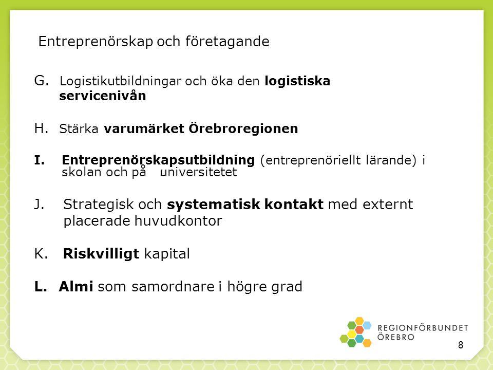 Entreprenörskap och företagande G. Logistikutbildningar och öka den logistiska servicenivån H. Stärka varumärket Örebroregionen I.Entreprenörskapsutbi