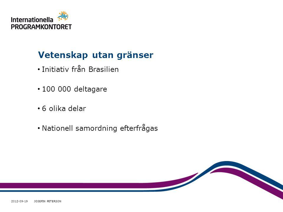 Vetenskap utan gränser • Initiativ från Brasilien • 100 000 deltagare • 6 olika delar • Nationell samordning efterfrågas 2012-09-19 JOSEFIN PETERSON