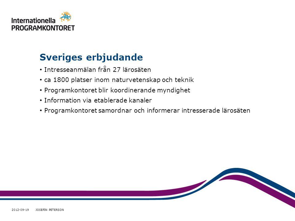 Sveriges erbjudande • Intresseanmälan från 27 lärosäten • ca 1800 platser inom naturvetenskap och teknik • Programkontoret blir koordinerande myndighet • Information via etablerade kanaler • Programkontoret samordnar och informerar intresserade lärosäten 2012-09-19 JOSEFIN PETERSON
