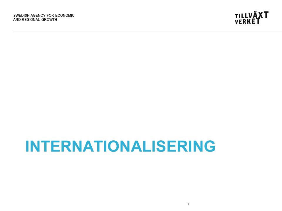 SWEDISH AGENCY FOR ECONOMIC AND REGIONAL GROWTH Affärsutvecklingscheckar för internationalisering •50 000 – 250 000 kr •För utvecklingsinsatser som stärker konkurrenskraften och bidrar till en hållbar tillväxt.