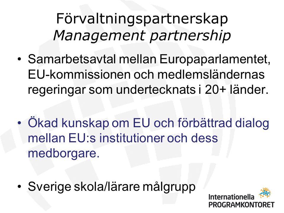 Lär mer om EU - Insatser 2009 - 2010 •24 seminarier (1 dag) på 18 platser (1350 personer) •2 fördjupningsutbildningar (2 dgr) (150 personer) •Studiebesök i Bryssel för lärare (50 personer) •Utbildning i Sverige och Bryssel för skolledare (50 personer) •Pilotutbildning skolambassadörer (25 personer) •Lärarhandledning, Webbplats www.eukunskap.sewww.eukunskap.se •Broschyrställ till Europa Direktkontoren •Marknadsföring, Utvärdering och dokumentation (film, rapport) Kompletterande insatser med nationella medel 2009 •Interaktivt digitalt spel Rådgivarna – Ny i parlamentet december 2009 •80 temapass och 6 EU-rollspel på skolor runt om i landet som nått drygt 2000 gymnasieelever.