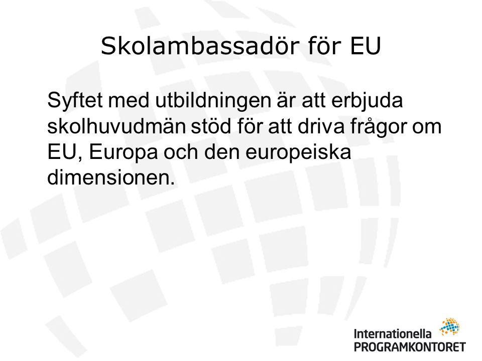 Skolambassadör för EU 18 augFörsta uppgift – Kartläggning 12 sepEuropahuset Introduktion (skolambassadörer och skolledare) 13-15 sepInternat - Projektutveckling/projekt- och processkunskap - EU-engelska - Internationella programkontoret/LLP - EU-kunskap (Statskunskap och Historia) - Aktuellt från Regeringskansliet, EU- kommissionen och Europaparlamentet