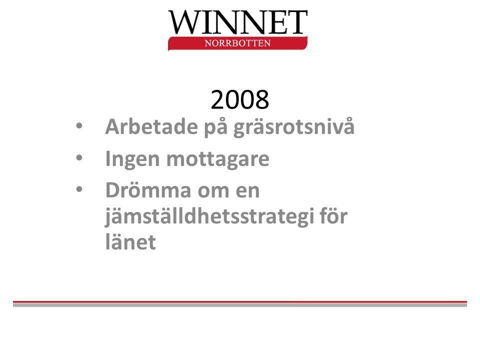 2008 • Arbetade på gräsrotsnivå • Ingen mottagare • Drömma om en jämställdhetsstrategi för länet