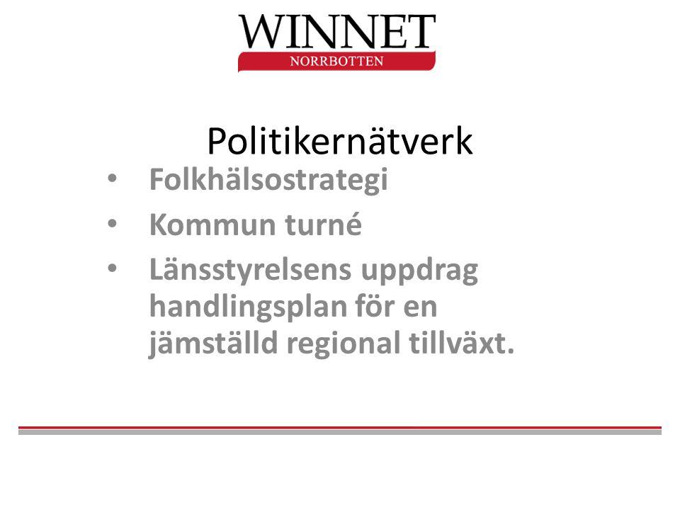 Politikernätverk • Folkhälsostrategi • Kommun turné • Länsstyrelsens uppdrag handlingsplan för en jämställd regional tillväxt.