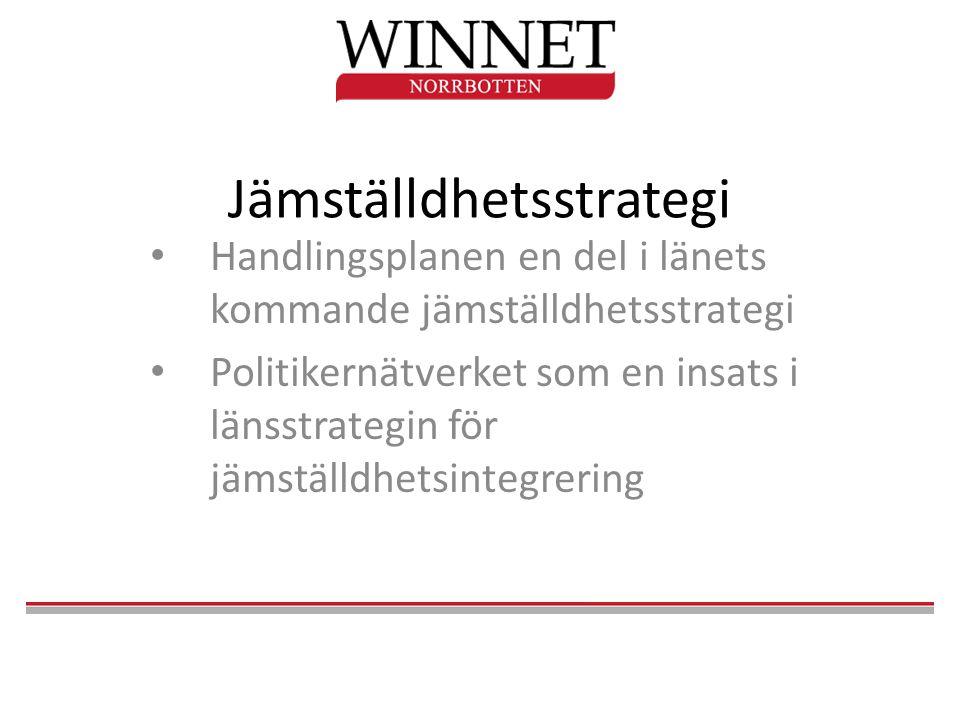 Jämställdhetsstrategi • Handlingsplanen en del i länets kommande jämställdhetsstrategi • Politikernätverket som en insats i länsstrategin för jämställdhetsintegrering