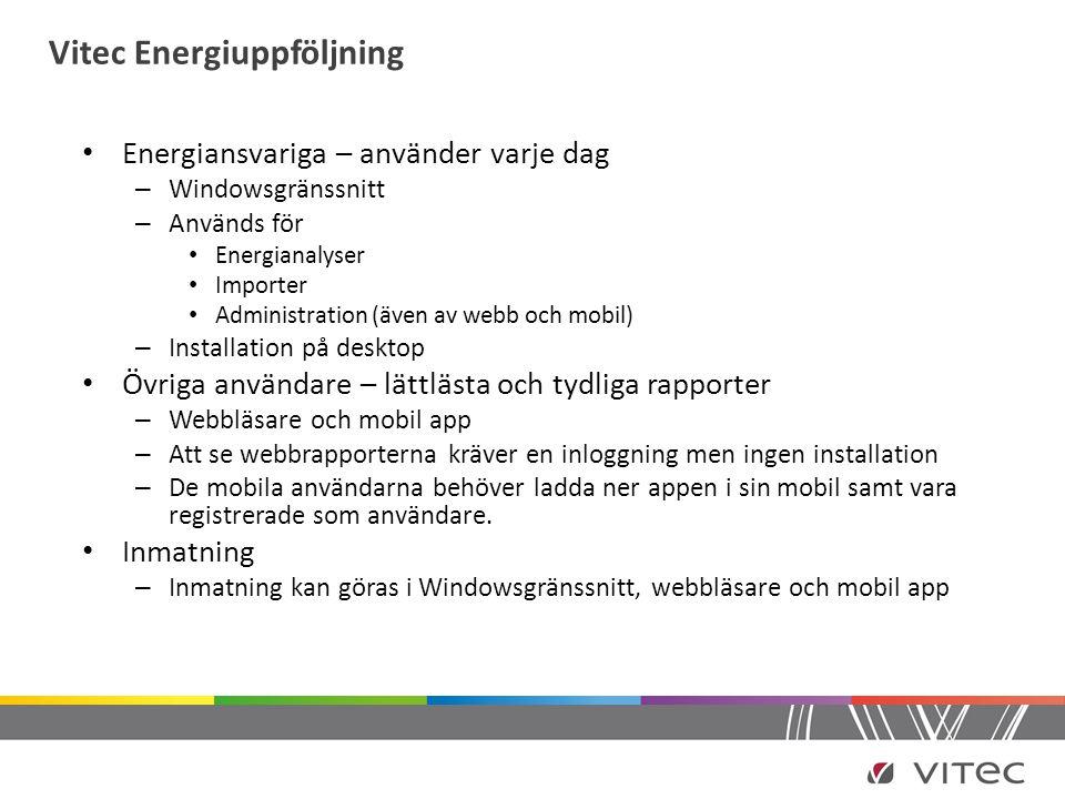 Vitec Energiuppföljning • Energiansvariga – använder varje dag – Windowsgränssnitt – Används för • Energianalyser • Importer • Administration (även av